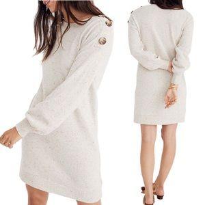 Madewell Boatneck Button Shoulder Sweater Dress